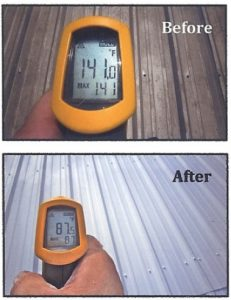 temperature with and without ThermaCote on metallic roof_0_1540313459601
